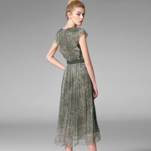 POKWAI Elegant Vintage Summer Silk Dress Women Fashion High Quality ... dc76fa10e9e6
