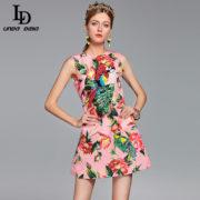 2017 Runway Designer Summer Dress Women s Elegant Sleeveless Crystal Button  Parrot Sequined Pink Floral Flower Printed Dress  56.99  48.44 3452905990eb