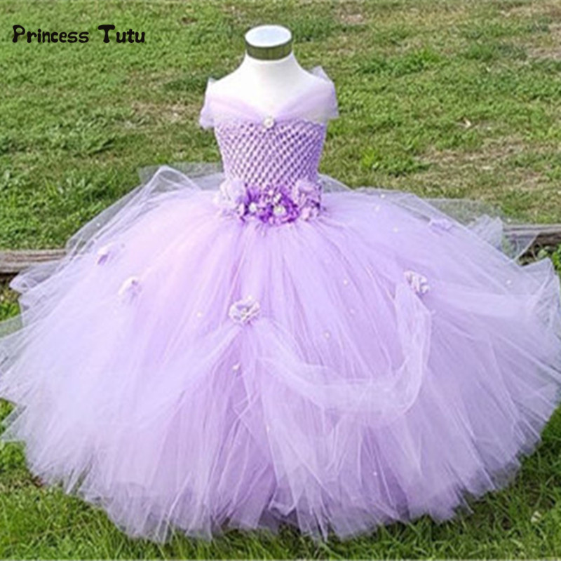 New Flower Girls Wedding Bridesmaid Party Dresses Princess Tulle Tutu Dress